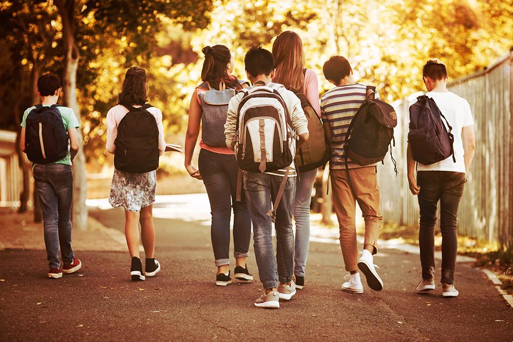 Group of freshmen students walking home